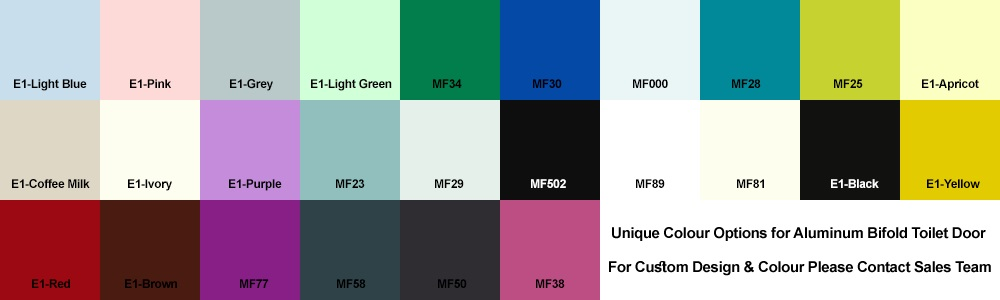 Aluminium PVC Bi-fold Toilet Door Colour Chart
